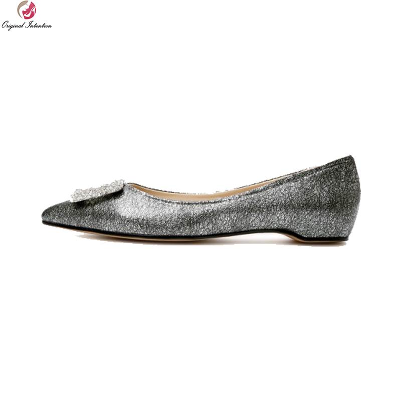 Original Intention New High-quality Women Flats Nice Cow Leather Pointed Toe Flat Shoes Green Grey Shoes Woman US Size 4-8.5 new listing pointed toe women flats high quality soft leather ladies fashion fashionable comfortable bowknot flat shoes woman
