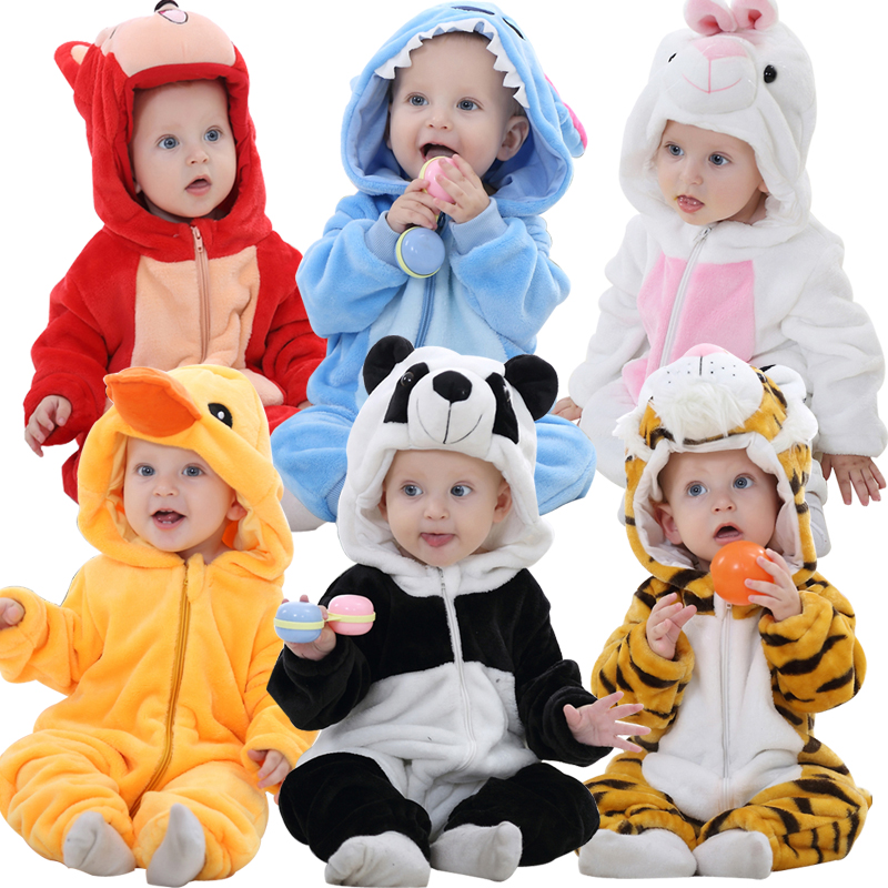 цена на 9 Colors Infant Baby Rompers Flannel New Born Baby Clothes Animal Cartoon Panda Tiger Rabbit Hooded Rompers High Quality 2017