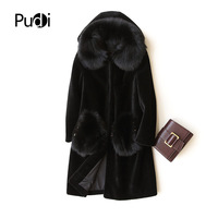 PUDI A17060 2018 Women new fashion women Wool fur coat with real fox collar hood and fox pocket accessories lady winter wam coat