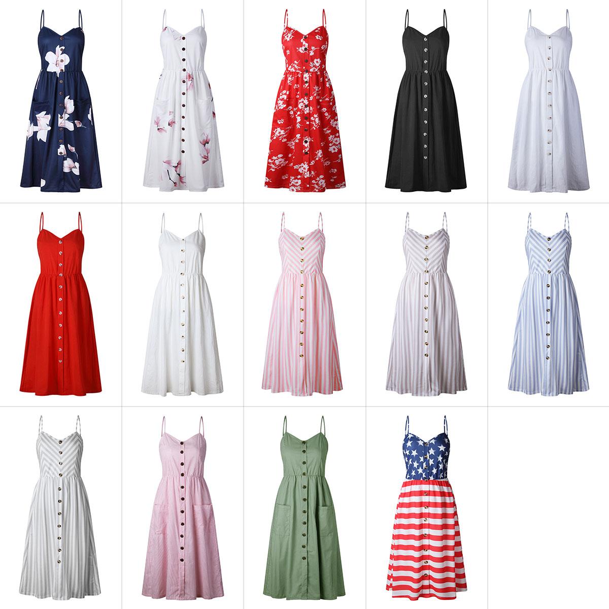 2019 Summer Women Button Decorated Print Dress Off-shoulder Party Beach Sundress Boho Spaghetti Long Dresses Plus Size FICUSRONG 5