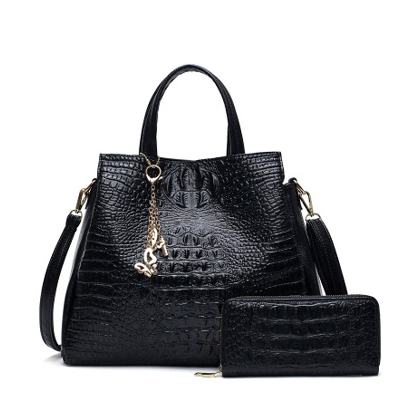Crocodile pattern leather bag more zipper Messenger shoulder bag women Large capacity black blue red все цены