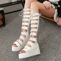 Summer Style open toe lace summer platforms boots Platform sexy gladiator shoes woman boot female height increasing Size 34-43