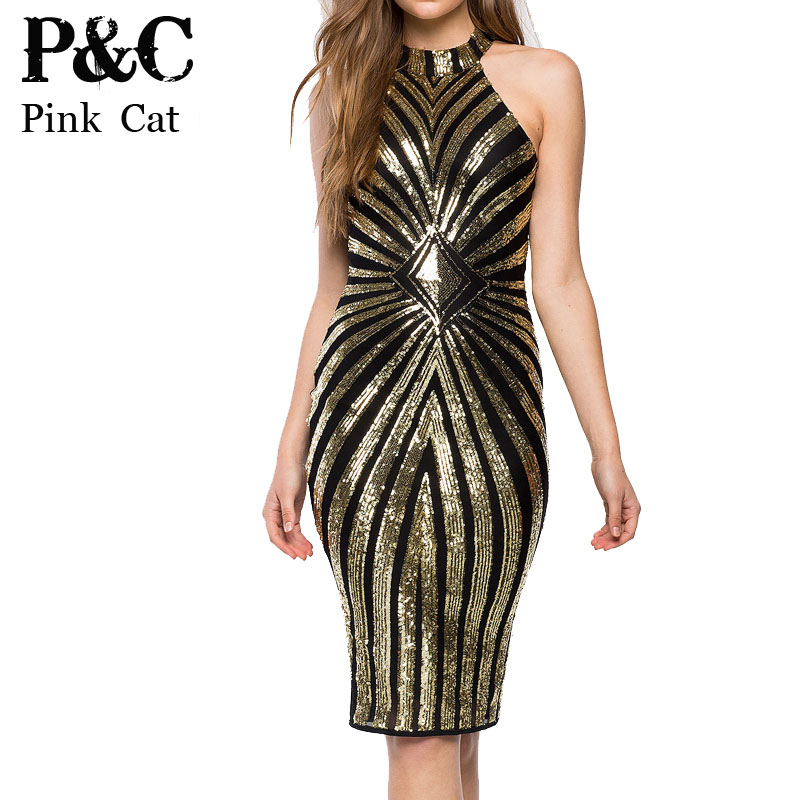 Buy Cheap women Diamond Luxe Sequined Dress Sexy Sleeveless Mesh Patchwork Pencil Midi Dress Sexy Club Night Bandage Bodycon Dress 4478