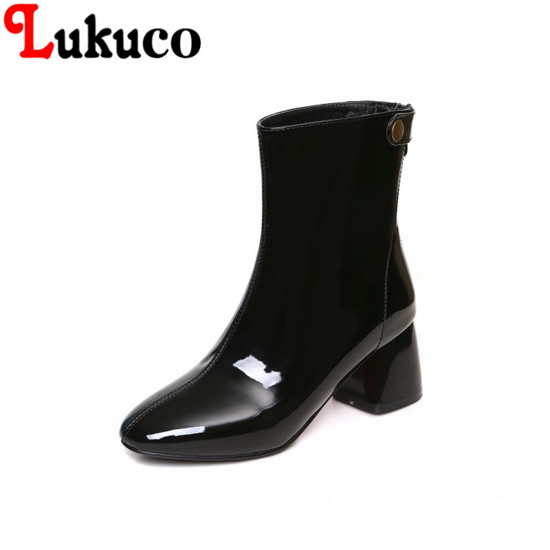 2018 New fashion style Round Toe shoes size 34-47 Patent Leather Boots high quality low price super bargain women boots super bargain new model new steampunk army man