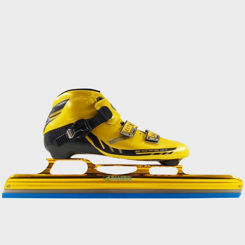 Prix pour Adultes En Fiber De Carbone Bottes Vitesse patins glace lame Femmes/Hommes glace lame Longue Piste glace de patinage Enfants Inline Rouleau Skate Chaussures