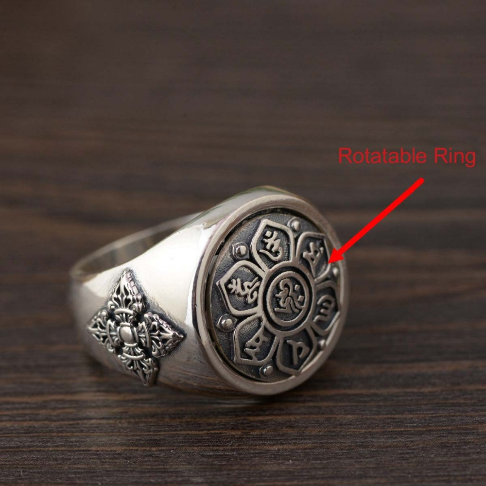 Real 925 Sterling Silver Vintage Ring For Women And Men Buddha Six Words' Mantra Rotatable Ring Fashion Punk Rock Jewelry vintage diamante turtle embellished alloy ring for men and women