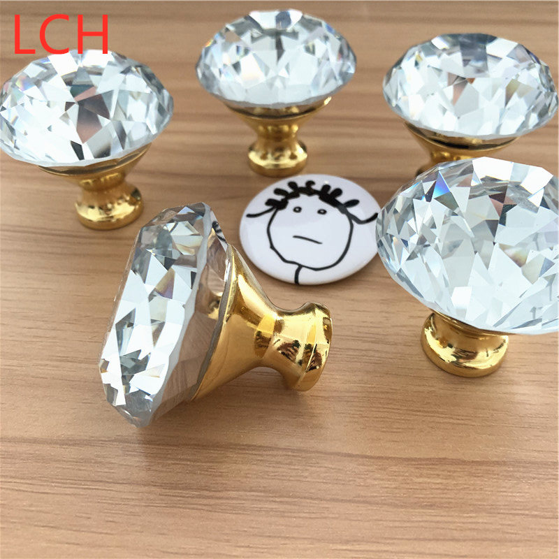 FREE SHIPPING LCH 50PCS LOT 40MM CLEAR CUT DIAMOND KNOBS GLASS KNOB CRYSTAL KNOB CABINET KNOBS