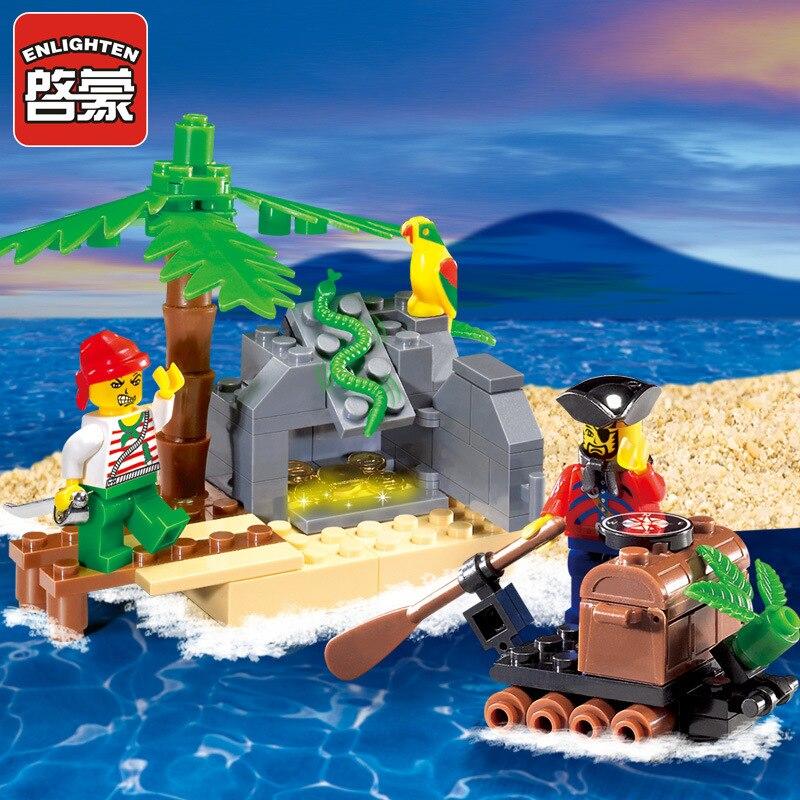 ENLIGHTEN 95PCS Pirate Series Pirate Ship Model Building Blocks Sets DIY Assembling Bricks Educational  Kids Toys Children Gifts