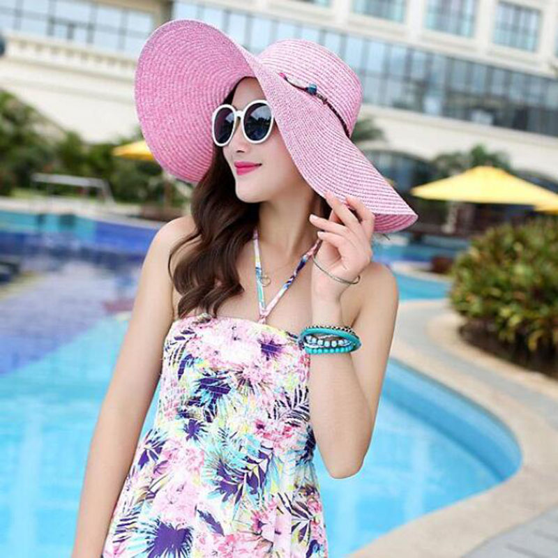 SUOGRY 2019 Hot Women Big Brim Sun Hats Colourful Colour Hand Hand - Aksesorë veshjesh - Foto 5