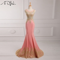 ADLN Hot Pink 2018 Evening Dress Floor Length Applique Beaded Sequins Long Evening Gowns Mermaid Vesti De Noche
