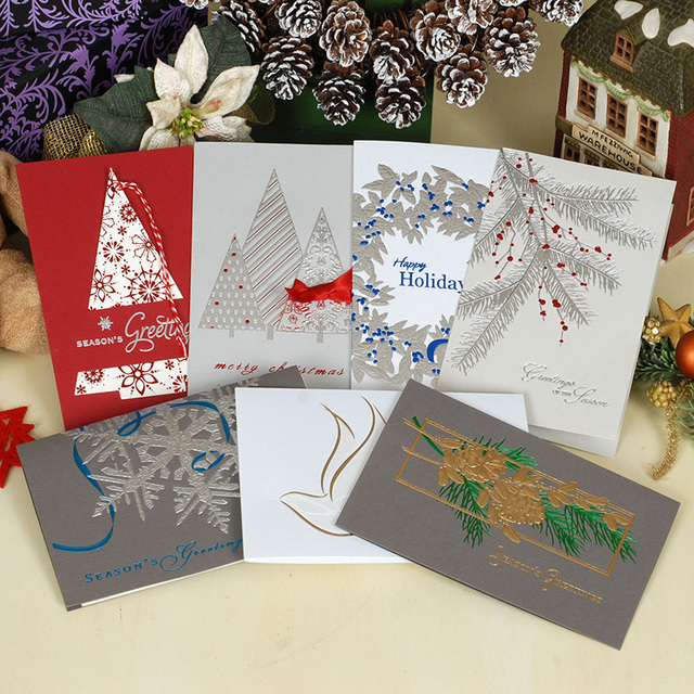 Embossed Business Christmas Cards with Envelopes,Happy Holidays