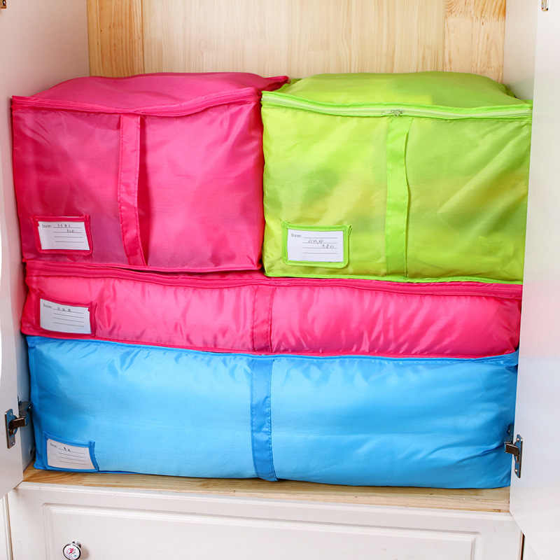 Multi Candy Color Quilt Clothing Storage Bag Home Portable Under Bed Storage Wardrobe Quality Luggage Oxford Closet Organizer