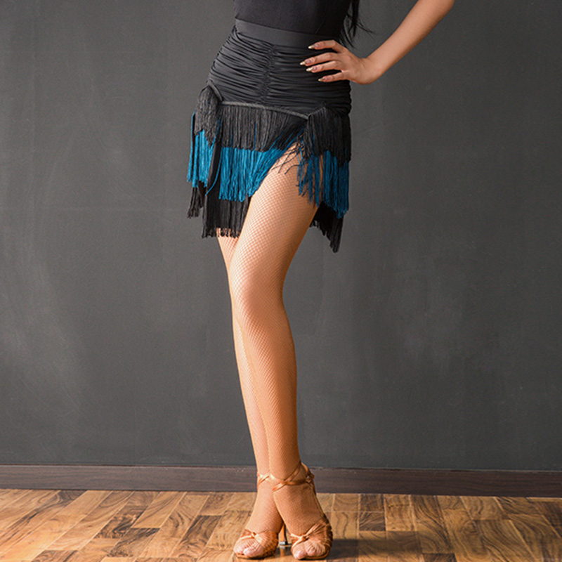 Jupe latine Sexy noir gland frange danse jupes adultes pratique spectacle Cha danse vêtements Latin danse porter femmes dames DN3518