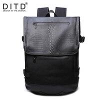 DITD Brand Leather Men Laptop Backpack Casual Daypacks For College High Capacity Trendy School Backpack Men Travel Bag Alligato