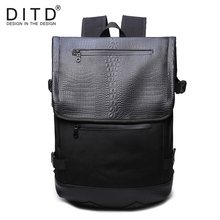 DITD Brand Leather Men Laptop Backpack Casual Daypacks For College High Capacity Trendy School Travel Bag Alligato