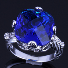 Gorgeous Big Square Blue Cubic Zirconia 925 Sterling Silver Ring For Women V0153