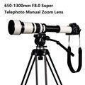 Lightdow 650-1300 f8.0-f16 súper teleobjetivo zoom manual lente anillo adaptador para canon 1100d 700d 650d 550d t2-canon 500d 7d 70d 60d