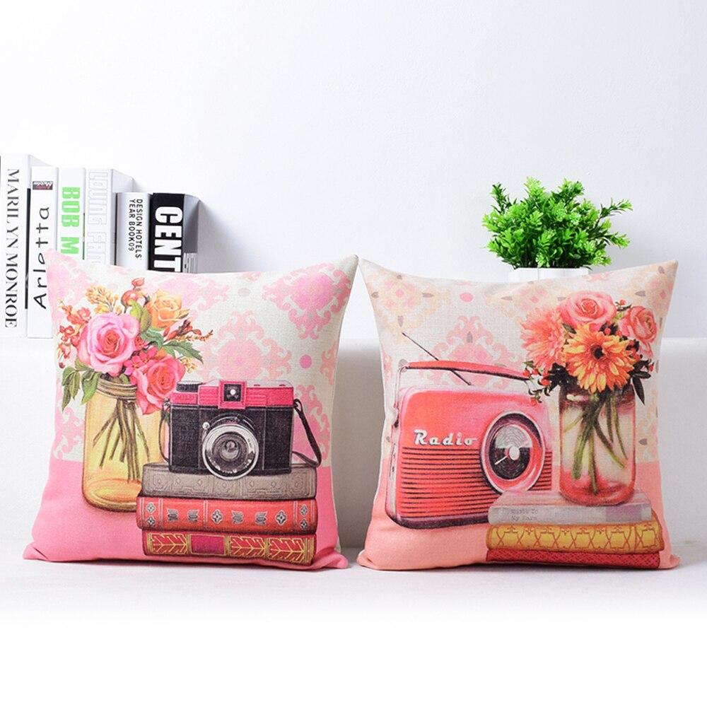European Vintage Floral Camera Pillow Cushion Linen Pillowcase,sofa Cushions Home Decorative Pillows