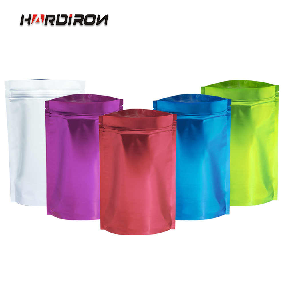 HARDIRON 100PCS 0.16mm Color Aluminum Foil Self-sealing Standing Bag Aluminum-plated Metal Tea Food Sealed Packaging Bag