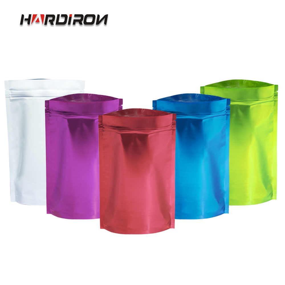 HARDIRON 100PCS 0.16mm Color Aluminum Foil Self-sealing Standing Bag Aluminum-plated Metal Tea Food Sealed Packaging Bag