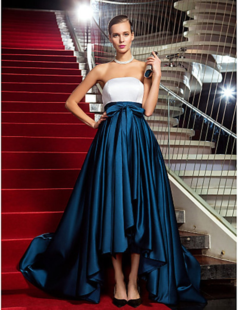 Elegant Strapless A Line High Low Prom Dresses Fast Shipping