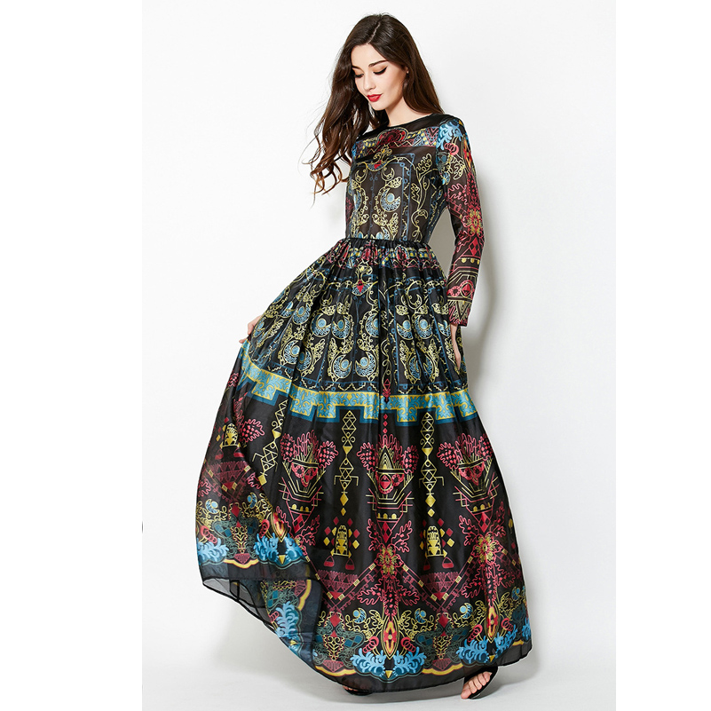 High quality runway New 2016 Women Summer Maxi Dress O-neck Quarter long Sleeve Floral Print Party Elegant Long Dress