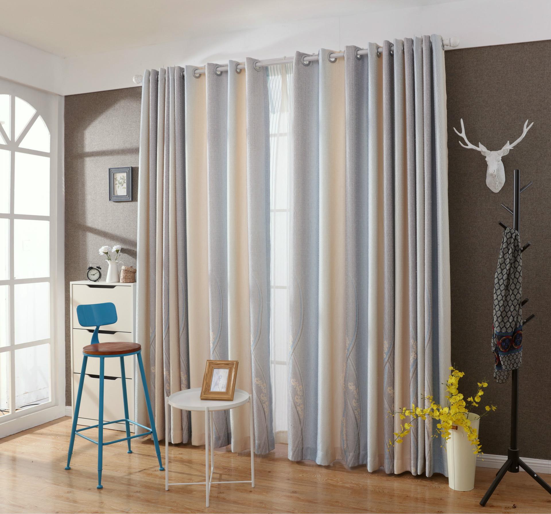 moda moderno flocado banda es simple cortinas de saln comedor mainland