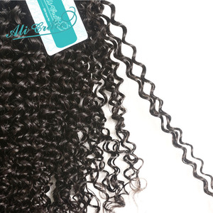 Image 5 - ALI GRACE brezilyalı Kinky kıvırcık saç kapatma ile 3 demetleri ile 4*4 dantel kapatma ücretsiz orta kısmı 100% remy saç kapatma