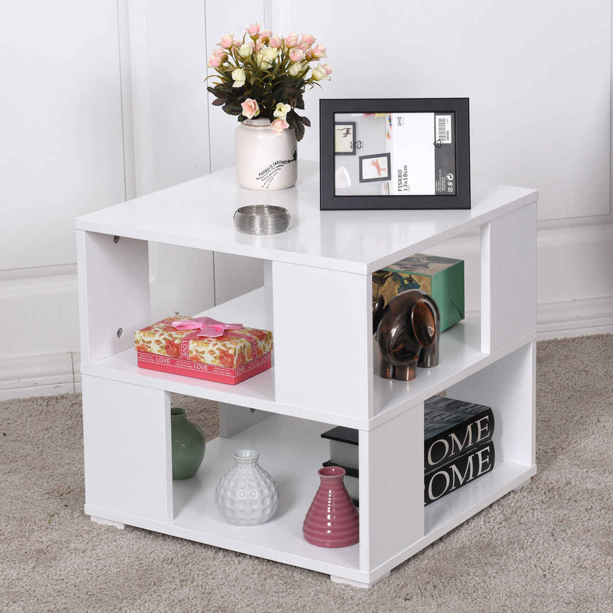 Giantex Modern Wood Square Coffee Table Living Room White End Side Table with Storage Cube Shelves HW57014