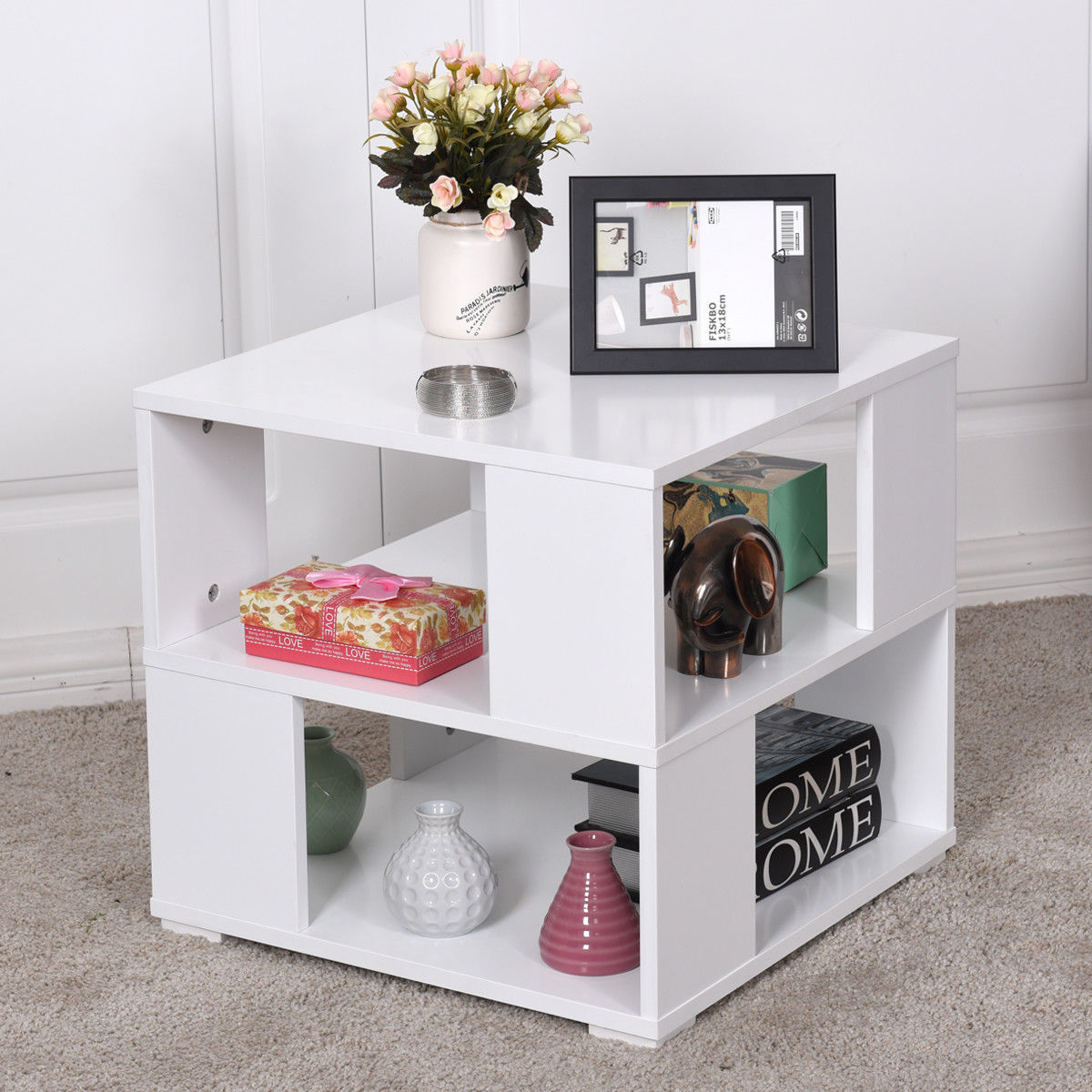 Giantex modern wood square coffee table living room white end side table with storage cube for White end tables for living room