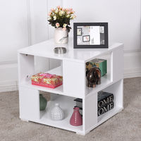Giantex Modern Wood Square Coffee Table Living Room White End Side Table With Storage Cube Shelves