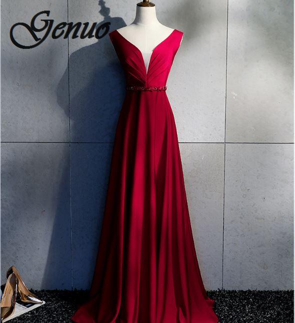 Sexy Ruffles Maxi Dress Party Dress Red Satin Sleeveless Backless Short Front Long Back Irregular Floor