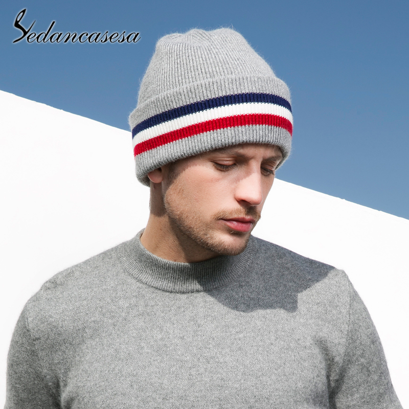 Sedancasesa 2019 New Hot on Sale Male Hat Knitted Wool Warm Men Cap Striped Fashion Head Man's Winter Hats   Skullies     Beanies