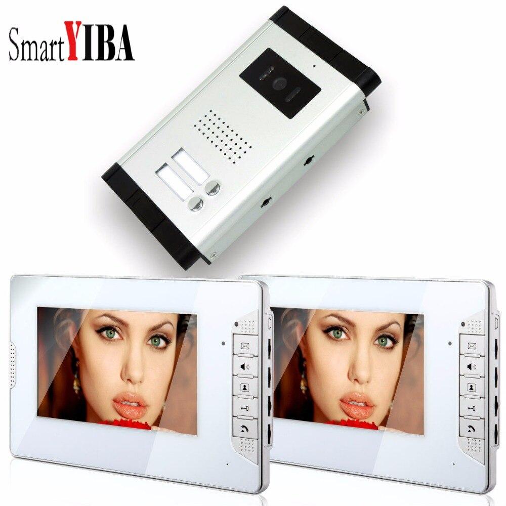"SmartYIBA  7"" 2 Units Apartment/Flats Video Doorphone Home Video Entry Doorbell Kit With 2 Calling Button IR Camera Intercom"