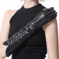 Lady S Seven Buttons Ethiopi Lamb Skin Gloves Evening Long Leather Black Gloves