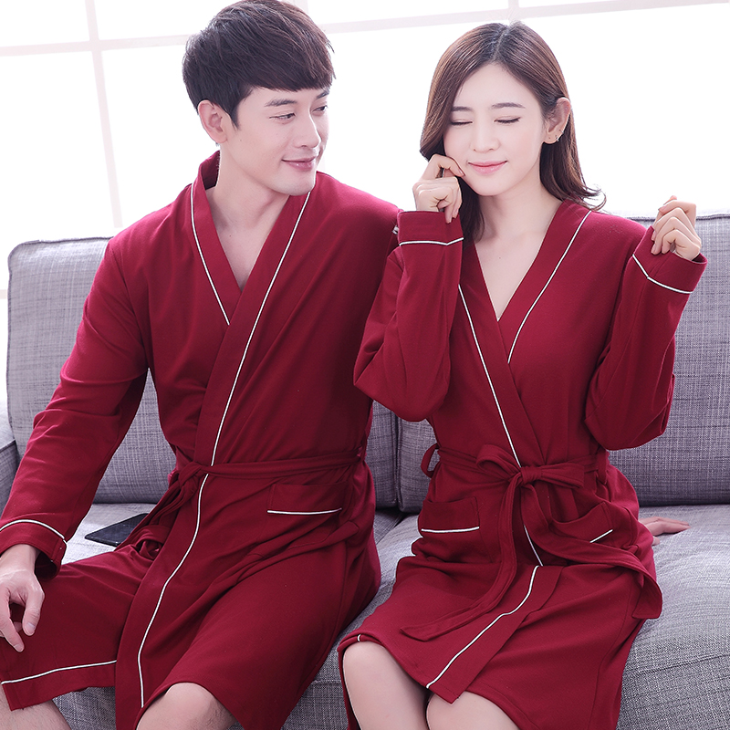 2017 Frühling Herbst Paar Bademantel 100% Baumwolle Qualität Langes Kleid Nachtwäsche Männer & Frauen Langarm Kimono Bad Robe Nachtwäsche