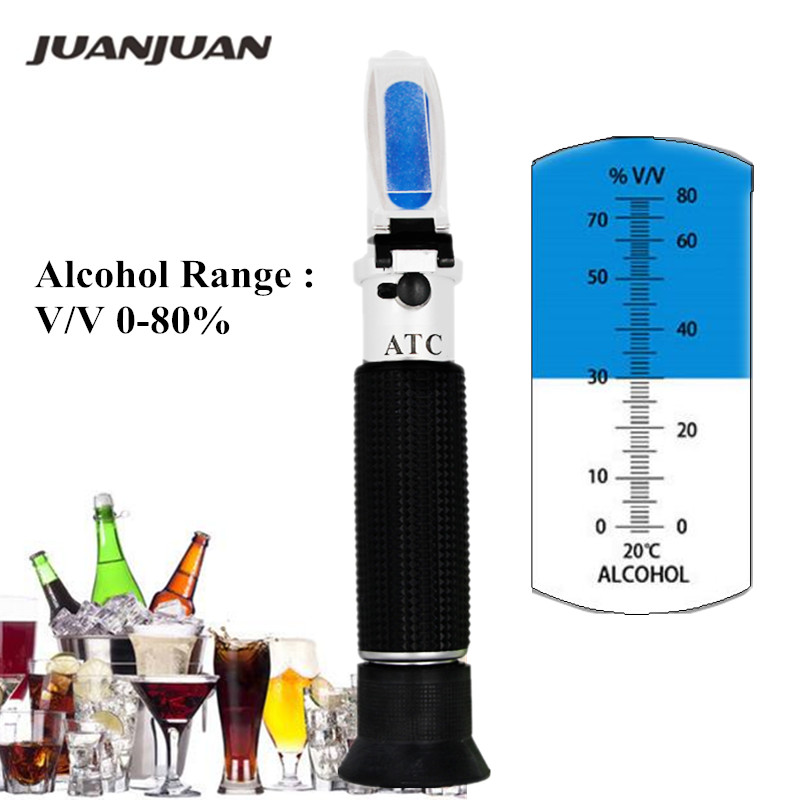 Handheld  Alcohol Tester Refractometer 0-80% Oenometer Monitor Detector Of Liquor Meter With ATC 40% Off