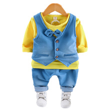 2019 New Autumn Children Kids Tie Cotton Gentleman Casual Baby Boys Vest T-Shirt Pants 3pcs/sets Infant Suit Toddler Clothes цена