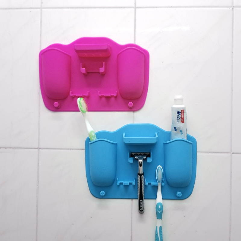 Mighty Silicone Toothbrush Holder Bathroom Wall Mounted Hanging Toothpaste Shaver and Razor Organizer