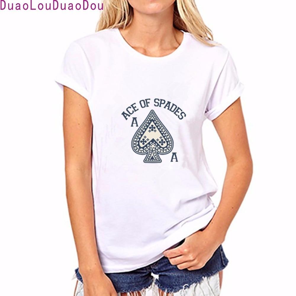Newest Poker ACE Printed Short sleeve T-Shirt Summer Women Novelty Personalized Harajuku Round neck fashion T Shirt Asian size ...