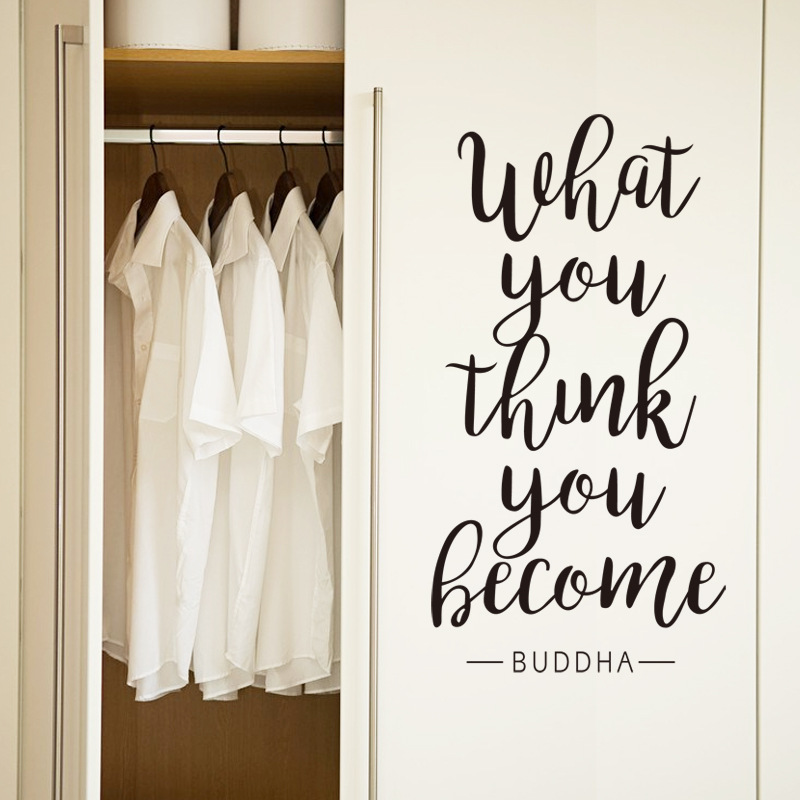 5730cm Black What You Think You Become Quote Art Vinyl Wall