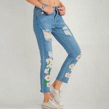 EXOTAO Fashion Women Denim Pants Sequins Flower Patch Trousers Ladies Ripped Jeans Pantalon Slim Pencil Pants Feminine S-XL