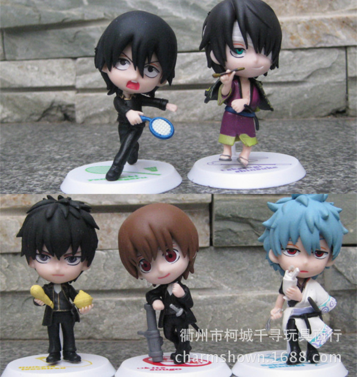 5pcs/<font><b>set</b></font> Gin Tama <font><b>Gintama</b></font> Sakata Gintoki Silver Soul Action <font><b>Figures</b></font> PVC brinquedos Collection <font><b>Figures</b></font> toys for christmas gift