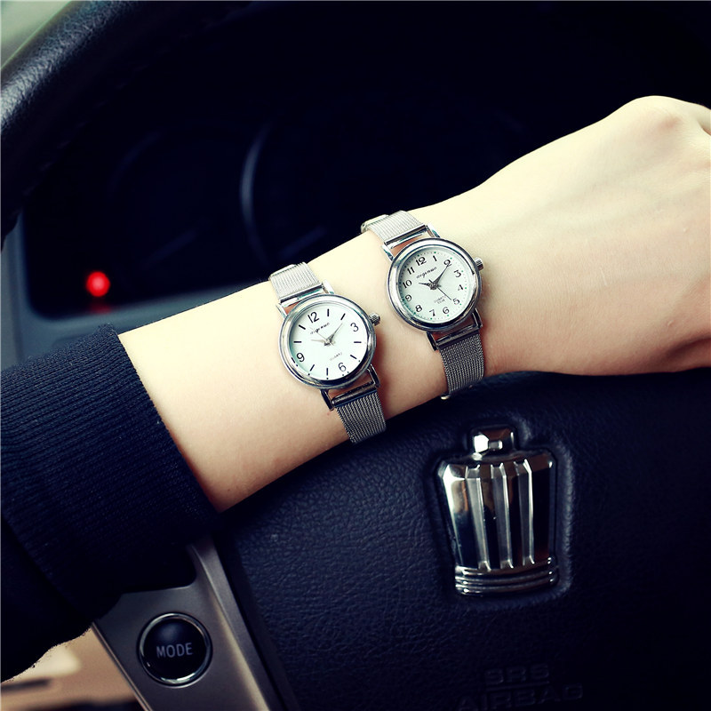 Luxury Silver Steel Small Thin Bracelet Dress Wristwatch Watch Hours for Women Ladies Two Styles