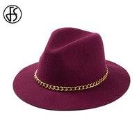FS Zarif Bayan Büyük Geniş Ağız Kış Yün Şapka Keçe Altın Zincirler Ile siyah Bordo Kırmızı Fötr Fedora Şapkalar Için kadınlar
