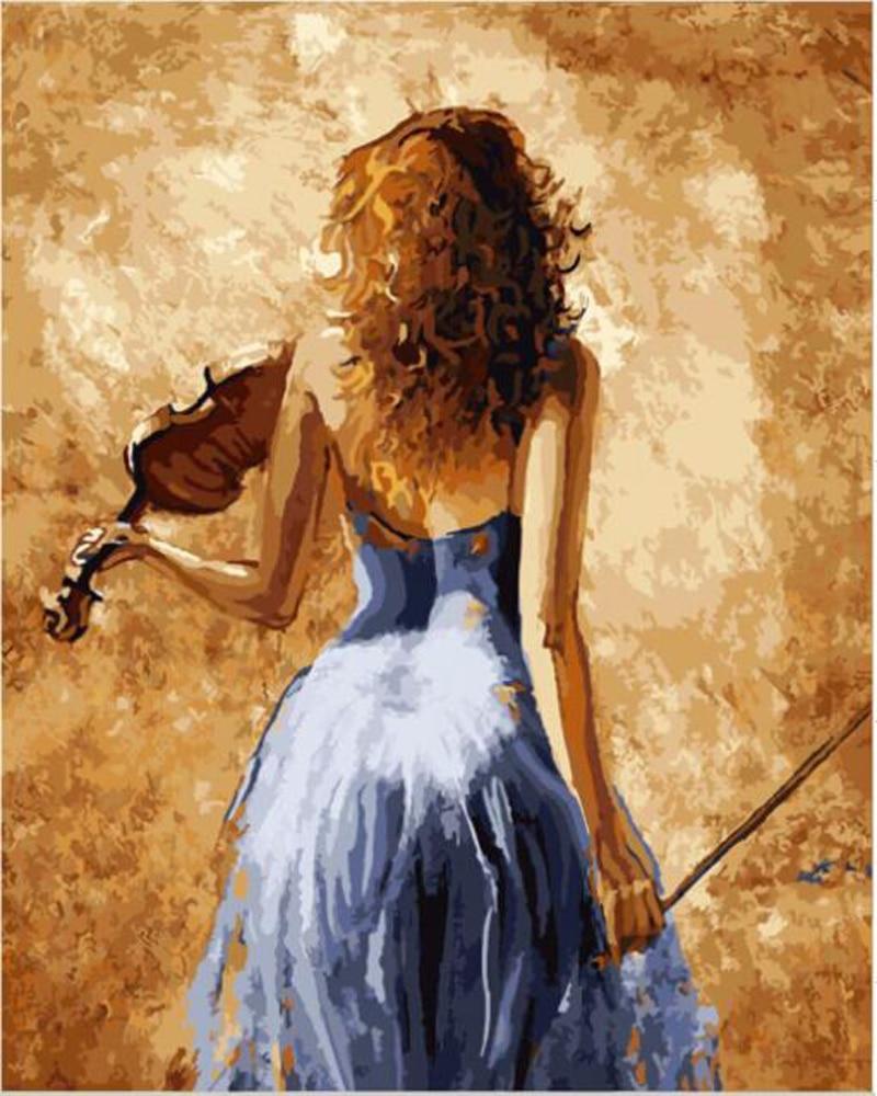 M dchen spielen eine violine malen nach zahlen vintage for Wand kunst wohnzimmer