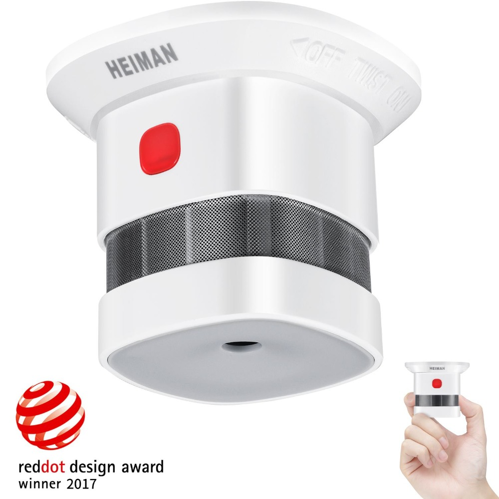 HEIMAN Mini Smoke Alarm Detector, 10-Year Battery Life(Included),Reddot Award,CE Certified, Independent Fire Detector-HM-HS1SA