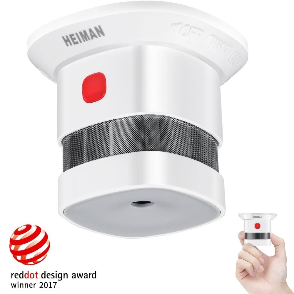 Mini détecteur de fumée HEIMAN, autonomie de 10 ans (inclus), prix Reddot, certifié CE, Detector-HM-HS1SA incendie indépendant