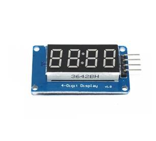 Free shipping 10pcs/lot 4 Bits Digital Tube LED Display Module With Clock Display TM1637 for Raspberry PI Connector