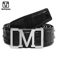 McParko Real Crocodile Leather Belt Men Luxury Brand Stainless Steel M Buckle Genuine Mens for Jeans Brown